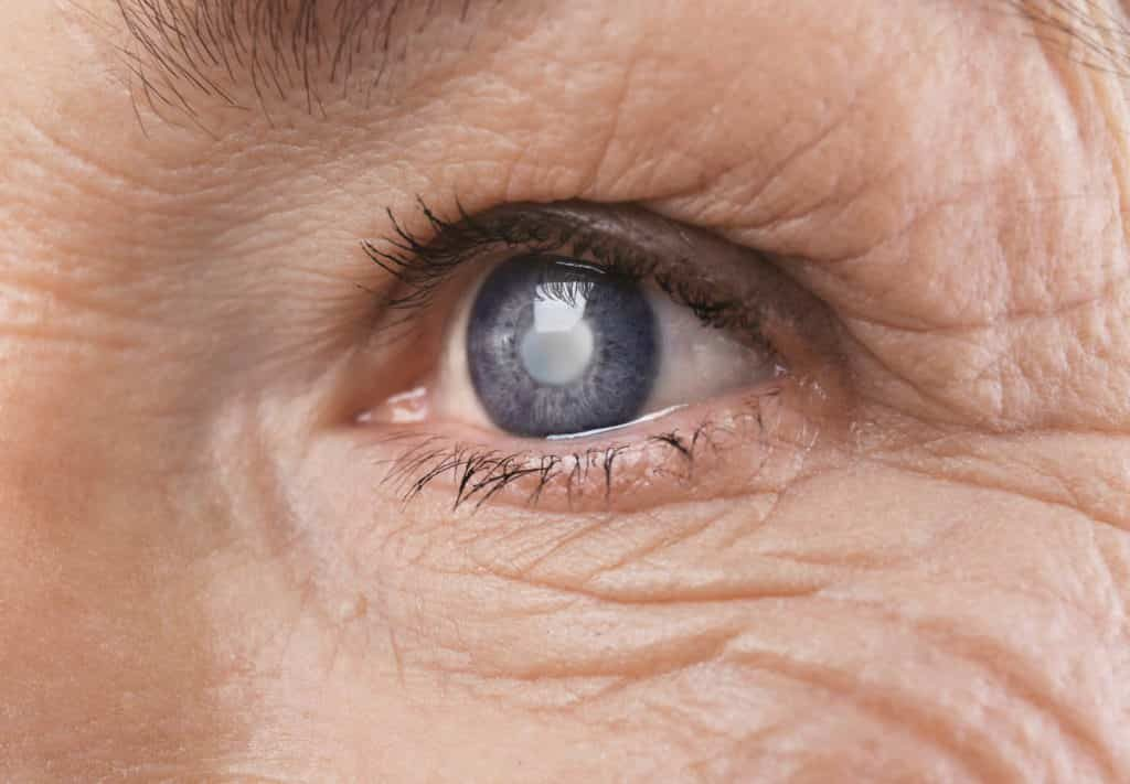 close up of an elderly persons eye